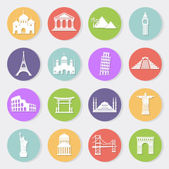 World landmarks, vector flat icons set