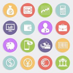 Finance and business vector icons set