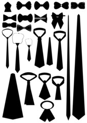 Different types neckwear (contour).