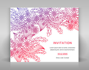 Invitation with floral decoration.