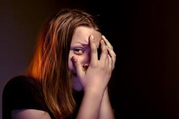 Afraided teen girl