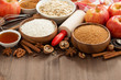 ingredients for baking cake on a wooden background, horizontal