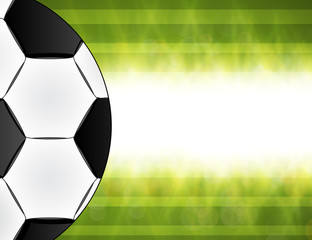Soccer ball on green background poster design with place for