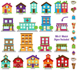 Vector Collection of City and Town Buildings, including various
