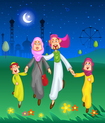 Happy muslim family celebrating Eid