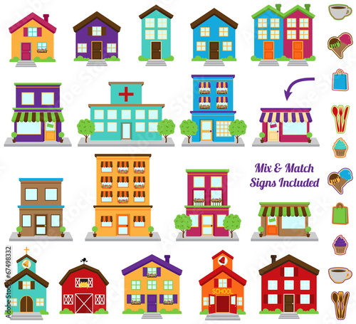 Vector Collection of City and Town Buildings, including various  - 67498332