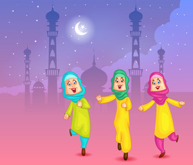 Happy muslim girls wishing Eid mubarak