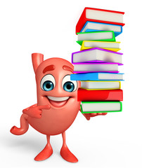 Cartoon Character of stomach with pile of books