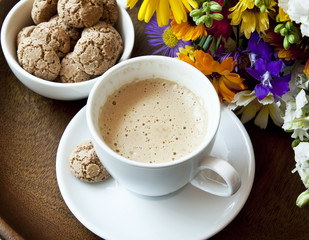 Cappuccino with Amaretti Biscuits and Flowers