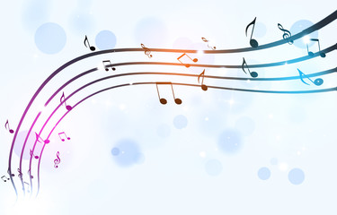 Black Music Notes on White Background