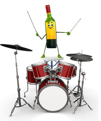 Wine Bottle Character with drum set