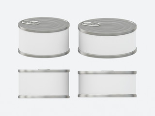 White blank label tin can set with pull tab, clipping path inclu