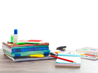 Accessories from school on a white background isolated