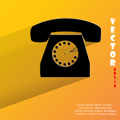 Retro telephone. Flat modern web button with long shadow and
