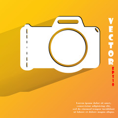 Photo camera. Flat modern web button with long shadow and space
