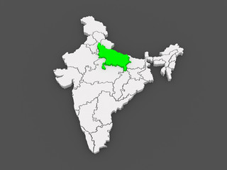 Map of Uttar Pradesh. India.