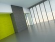 Large empty room with yellow wall accents