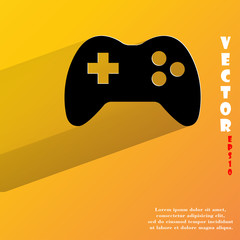 Gaming Joystick. Flat modern web button with long shadow and