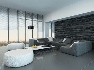 Interior of a modern grey and white living room