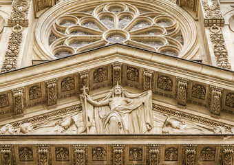 Facade detail from Sainte-Genevieve, Paris, France