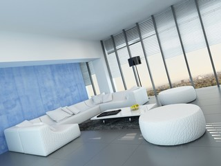 Contemporary grey, blue and white living room