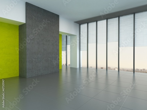 Large empty room with yellow wall accents - 67501147
