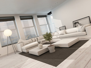 Modern black and white sitting room interior