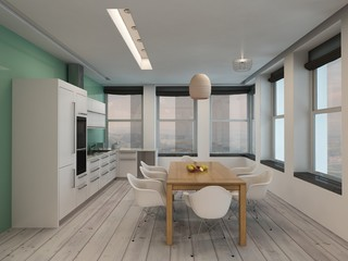 Open plan modern kitchen and dining room