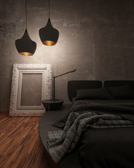 Black leather bed illuminated at night
