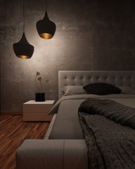 White leather bed illuminated at night