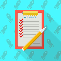 Flat vector illustration of clipboard for outsource