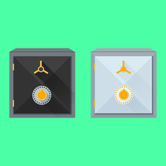 Flat vector illustration of safes
