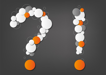 Question and exclamation mark made from dots on grey background