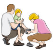 Boy Getting Shoes Tied