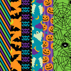 Vector Collection of Halloween Themed Seamless Tileable Backgrou