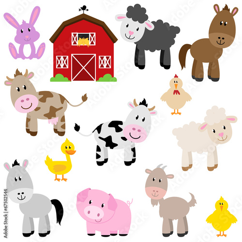 Vector Collection of Cute Cartoon Farm Animals and Barn - 67502544