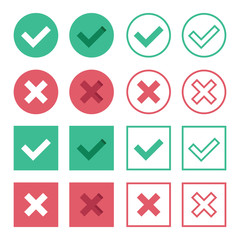 Vector Set of Flat Design Check Marks Icons
