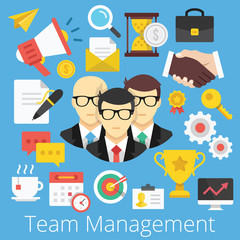 Vector Set of Flat Icons Illustrations for Team Management