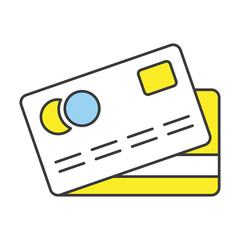Vector Flat Line Design Concept Credit Card Icon