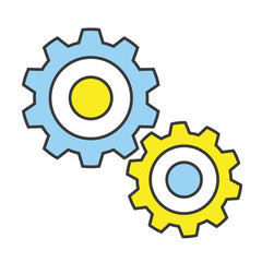 Vector Flat Line Design Concept Gears Icon
