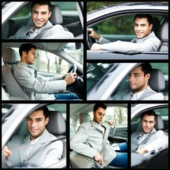 Composition of a man driving his car