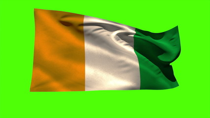 Ivory coast national flag blowing in the breeze