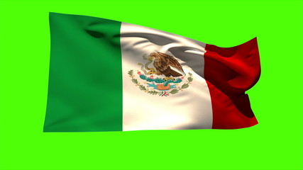 Mexico national flag blowing in the breeze