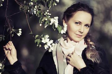 Portrait of beautiful fashion woman on nature
