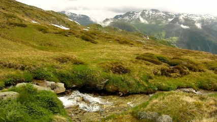 Cascade on small mountain stream in Alps, water is running