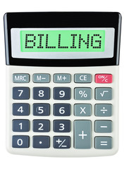 Calculator with BILLING on display on white background