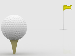3d golf ball with flag