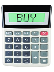 Calculator with BUY on display isolated on white background