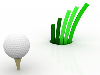 3d golf with business graph
