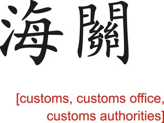Chinese Sign for customs, customs office, customs authorities
